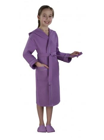 """Халат детский вафельный """"люкс фиолетовый"""""""