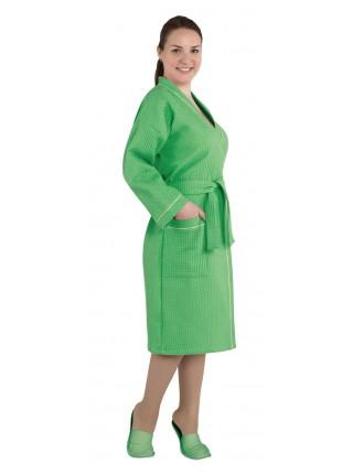 """Халат женский вафельный """"люкс зеленый"""""""