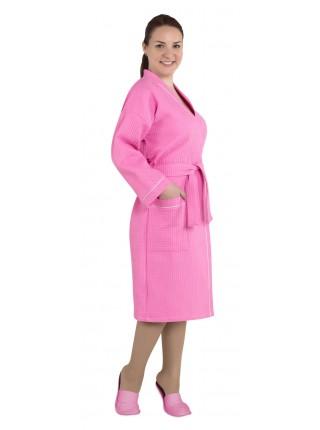 """Халат женский вафельный """"люкс розовый"""""""